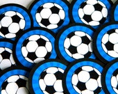 Soccer Cupcake Toppers, Ready to Ship, Blue, Set of 12