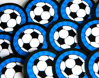 Soccer Cupcake Toppers-Blue, Set of 12