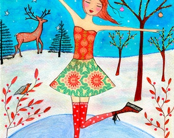 Children Wall Art, Christmas Ice Skating Girl with Christmas Tree, Baubles and Reindeer Mixed Media Collage Painting For Nursery Decor