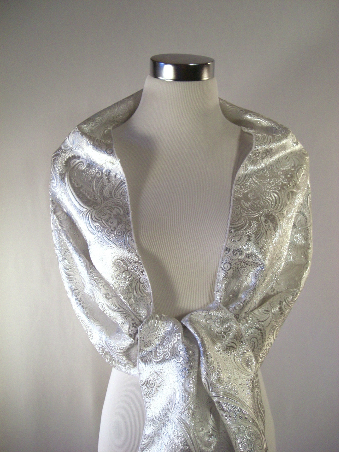 evening wrap shawl scarf one shoulder drape metallic