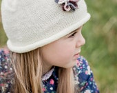 PDF Rolled Brim Beanie with Flower -  Knitting Pattern