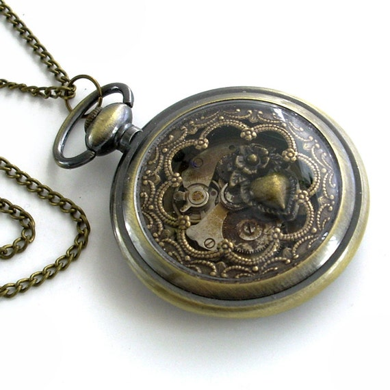 Time for Love - Pocket Watch Collage Steampunk Pendant