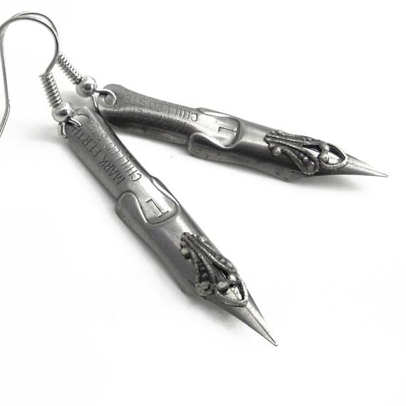 Inspired Writings - Vintage Pen Nibs - Intricate Silver on Steel Earrings Jewelry
