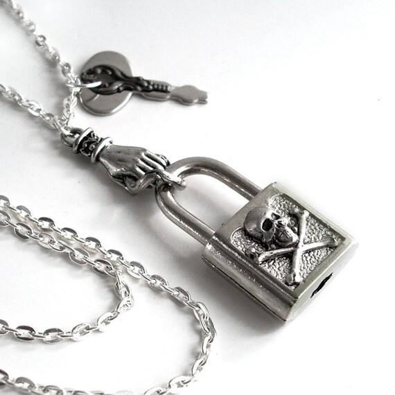 Locked Away - Steampunk Pendant Necklace Handmade Jewelry
