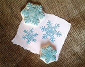 Snowflake Set Fancy Rubber Stamp Hand Carved