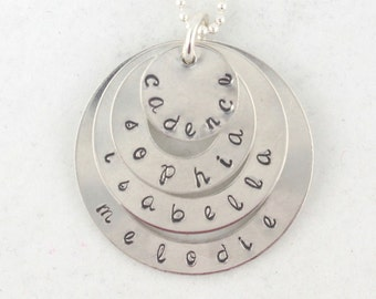 Mother's Day Gift - Sterling Silver Necklace - Hand Stamped - Personalized Custom Gift for Mom or Grandma - Name Necklace
