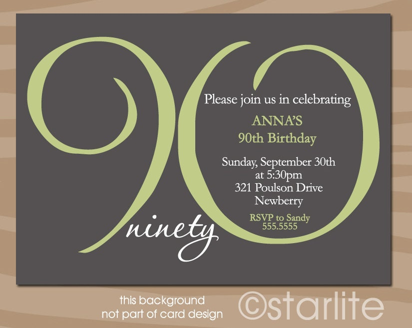 90th Birthday Invitation Adult Milestone 90th Birthday by ...