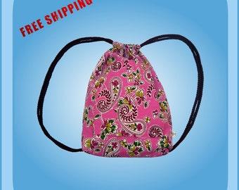 Pink Girls Drawstring Backpack