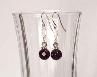 Black Onyx and Swarovski Crystal and Sterling Silver Earrings