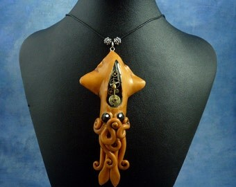 Brass Steampunk Squid Necklace, Clockwork Cephalopod Jewelry