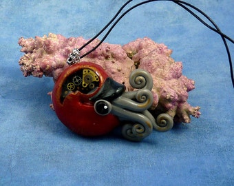 Gilded Steampunk Nautilus Necklace, Polymer Clay Neo-Victorian Cephalopod Pendant