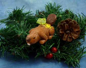 Xmas Beaver Ornament with Star Tush, Handmade Christmas Decoration