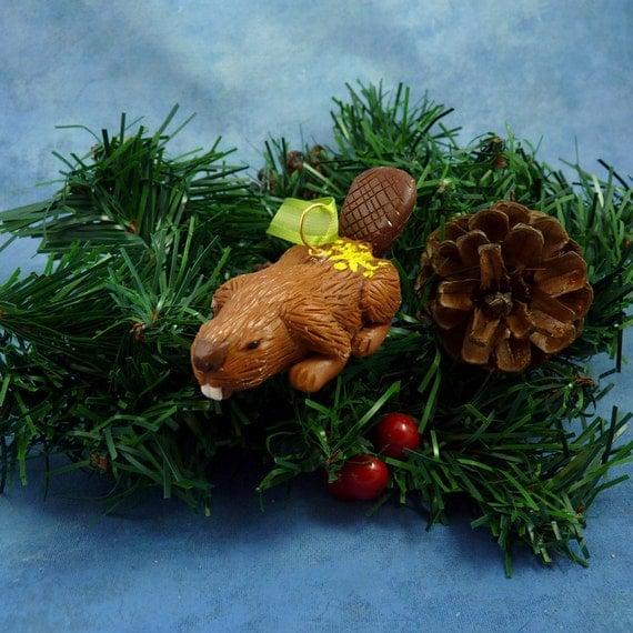 Xmas Beaver Ornament with Star Tush, Handmade Christmas Decoration