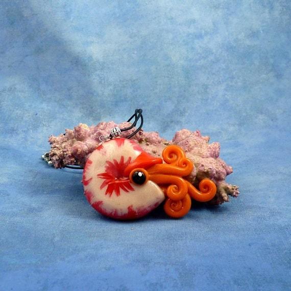 Sun Spot Nautilus Necklace, Red and Orange Polymer Clay Cephalopod Jewelry