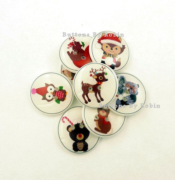 Christmas Animal Buttons. Handmade Buttons.  8 Christmas Sewing Buttons.