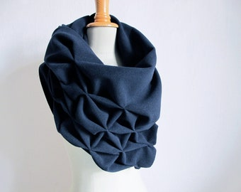 geometric wool shawl - superwarm sculptural wrap - triangular 100% wool scarf, navy