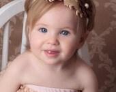 Cream Baby Feather Headband - Newborn Feather/Flower Headband - Cream & Brown Curly Feather Headband - Toddler//Girl Fascinator Photo Prop