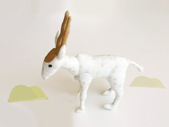 White Hand Sewn gift art doll toy, Addax endangered species, 9.4 inch, OOAK, antelope, African deer impala, white cloth, ram, antler, horns