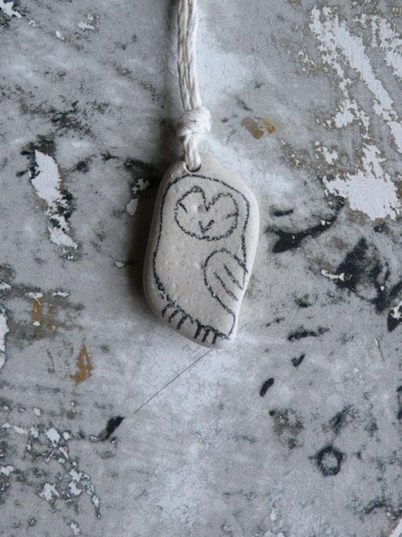 Healing Shard Necklace - Beach Pottery Owl