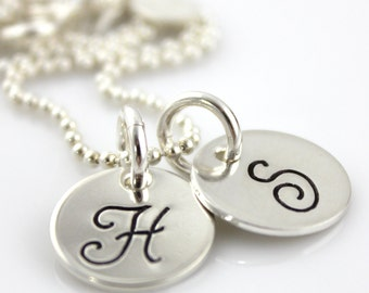 Itty Bitty Duo Monogram Script hand stamped and personalized sterling silver necklace - two discs