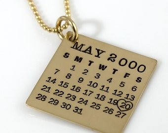 Personalized Calendar Necklace - Gold Filled Mark Your Calendar Necklace hand stamped