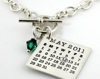 Toggle Bracelet - Mark Your Calendar Toggle Bracelet with Swarovski Crystal - personalized sterling silver bracelet