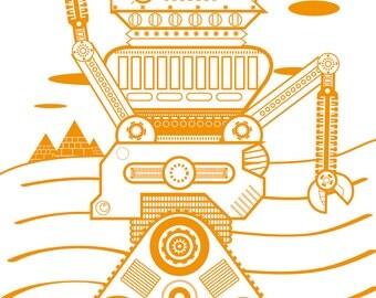 Sandy Orange Desert Robot Poster