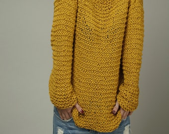 Simple is the best - Hand knit Woman Sweater Eco Cotton Oversized Mustard Yellow -ready to ship
