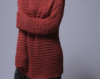 Hand knit sweater - Eco cotton oversized sweater in Brick Red - ready to ship