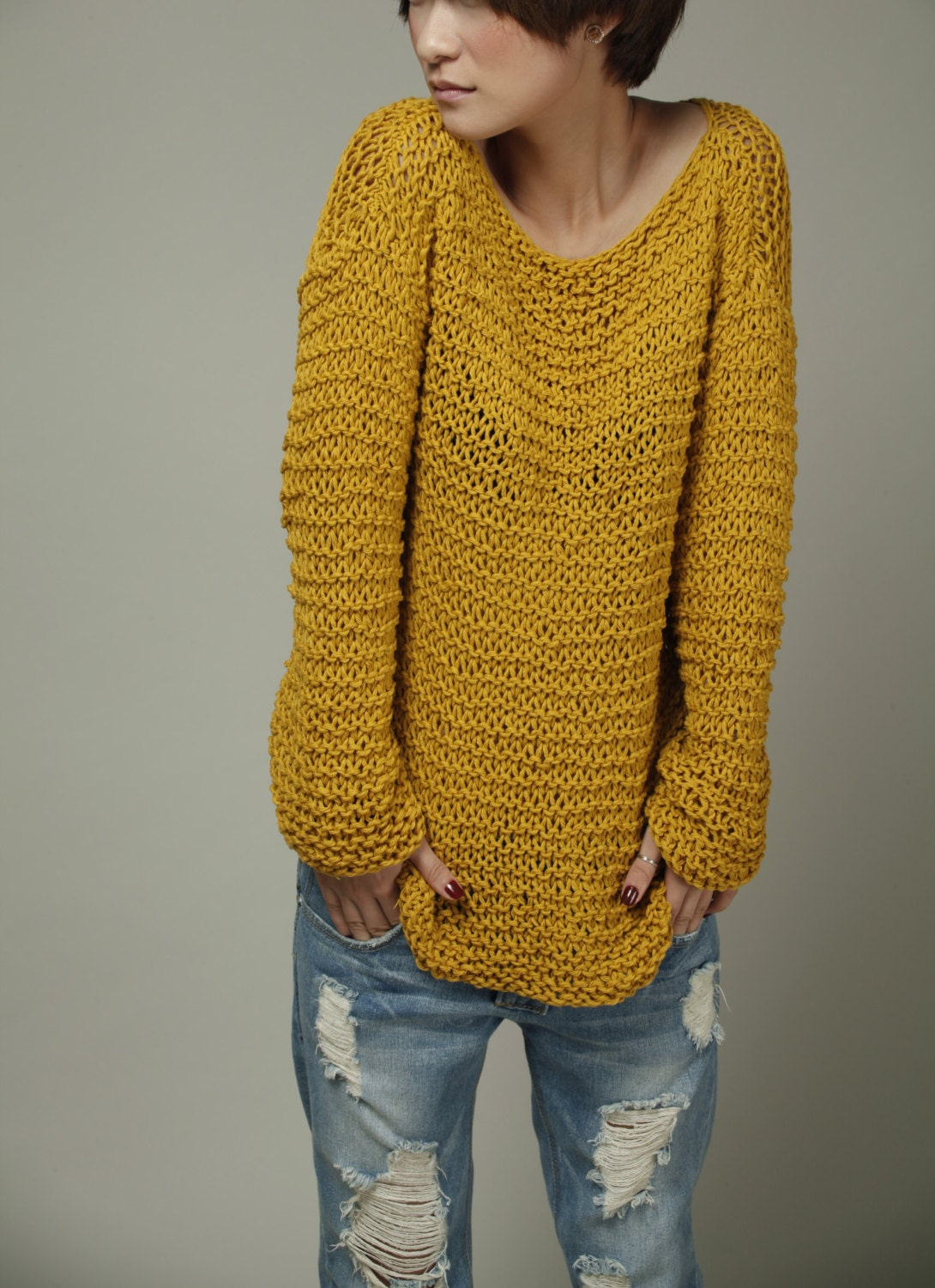 Simple is the best Hand knit Woman Sweater Eco Cotton