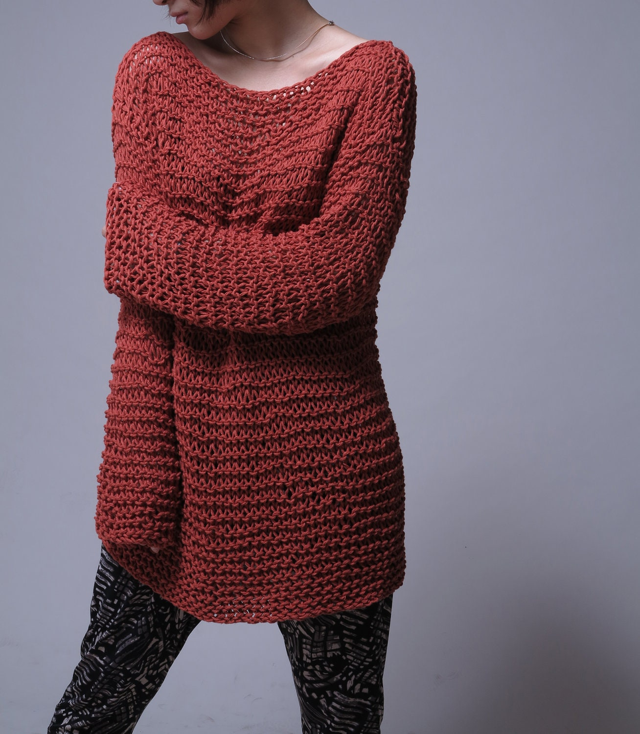 Hand knit sweater Eco cotton oversized sweater in Brick Red
