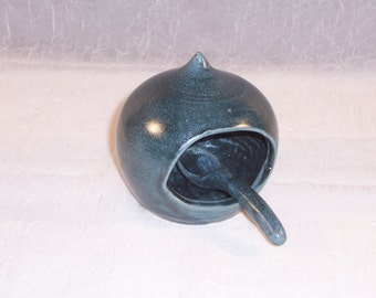 Pottery Salt Pig - Salt Box - Ceramic Salt Cellar - with spoon - Slate Blue - Handmade - Wheel thrown pottery - Stoneware