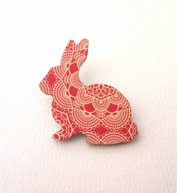 Little Lapin - Wooden Bunny Brooch