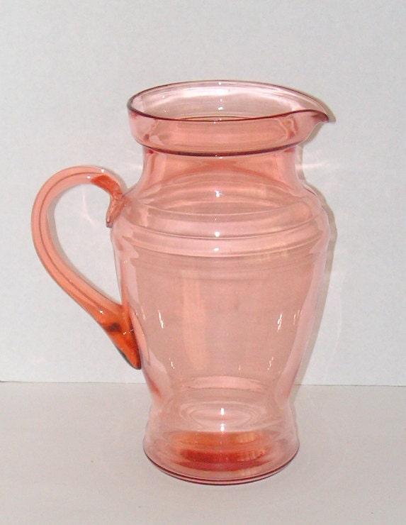 Vintage Glass Pitcher Pink Dunbar Elegant Depression Glassware