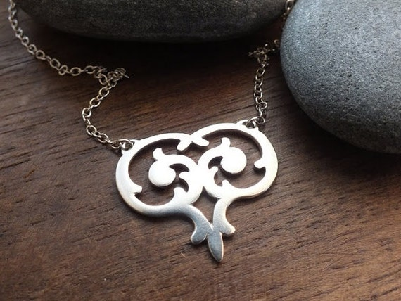 Reserved listing for Jane - happiness of being necklace - Historical Scrollwork Necklace