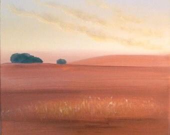 Harvest farmland landscape, minimalist 12x12 square painting