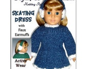 Knitting pattern. Fits American Girl Doll and 18 inch doll. Clothes, Skating Dress 013