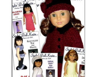 Knitting Patterns for doll clothes, Fit American Girl Doll, 18 inch doll, Instant Download