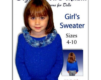 Girls Knitting Pattern, Pullover Sweater, children's clothes. PDF Instant Download