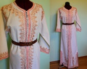 60s 70s ethnic boho embroidered tunic hippie maxi dress