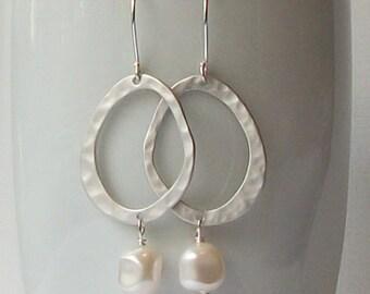 Pearl Silver Dangle Earrings