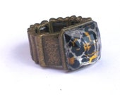 Leopard Print Stretch Band Cocktail Ring - Animal Print Jewelry - One Size Fits Most