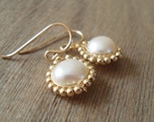 Gold-Wrapped Freshwater Pearl Earrings - White, 14kt Goldfilled, Bridal Earrings