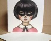 Still Life - Masked Kitten Girl - Tamer Animals Greeting Card