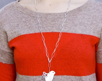 Sterling Silver Chain Necklace with Mod Dove Bird