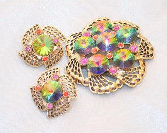 Rainbow Rhinestone Brooch Earrings Set Vintage Watermelon Rivoli Multicolor Pinwheel Elegant Green Pink Purple