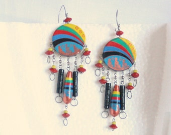 Southwestern Dangle Multicolor Earrings Vintage Pierced Colorful Arizona Mesa Design