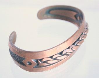 Copper Cuff Bracelet Vintage Braided Inlaid Design