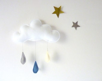 Cloud mobile.... Rain of colors....cream-blue denim-grey...drops