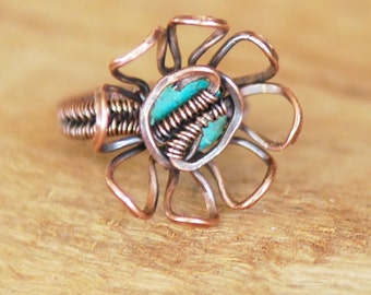 Artisan Copper and Turquoise Flower Ring, OOAK, Handmade